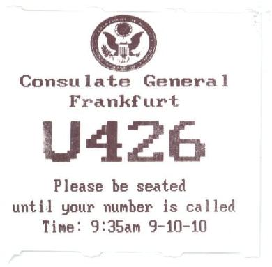 Warte Nr. im US Konsulat